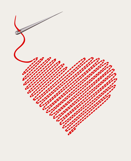 embroidered heart with a needle thread. vector illustration